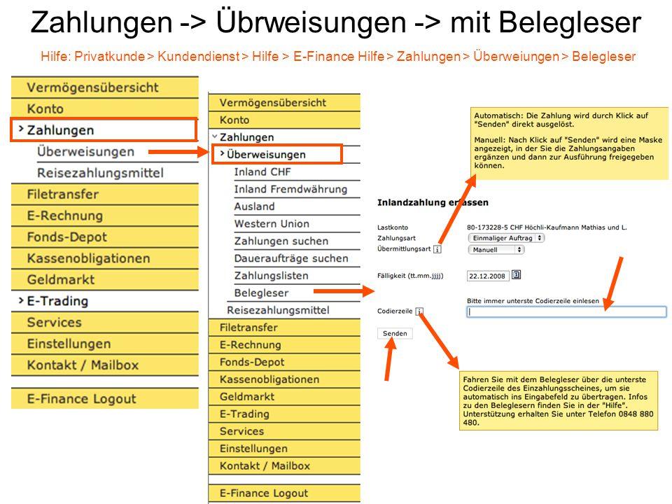 Zahlungen -> Übrweisungen -> mit Belegleser