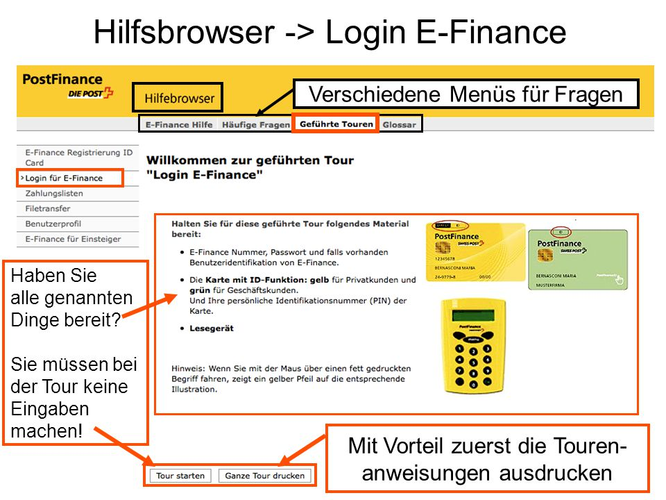Hilfsbrowser -> Login E-Finance