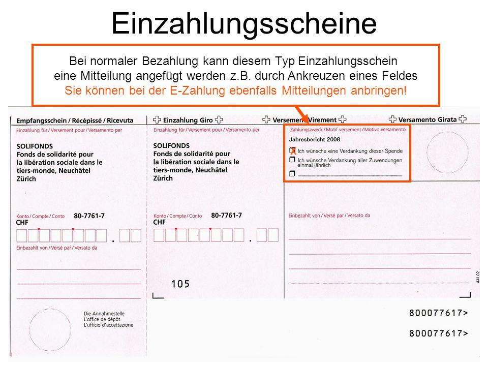 Sie können bei der E-Zahlung ebenfalls Mitteilungen anbringen!