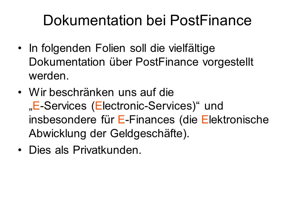 Dokumentation bei PostFinance