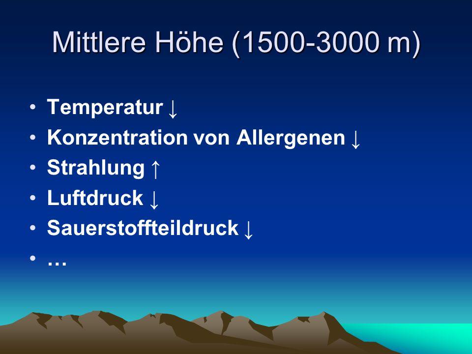 Mittlere Höhe (1500-3000 m) Temperatur ↓