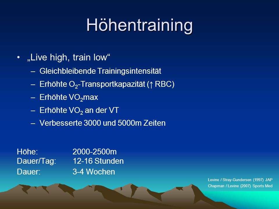 "Höhentraining ""Live high, train low"