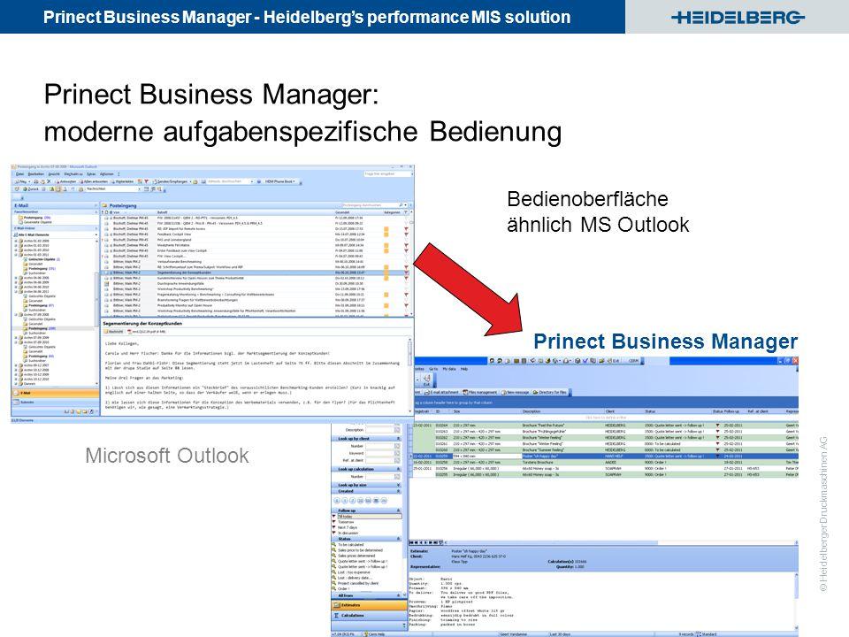 Prinect Business Manager: moderne aufgabenspezifische Bedienung