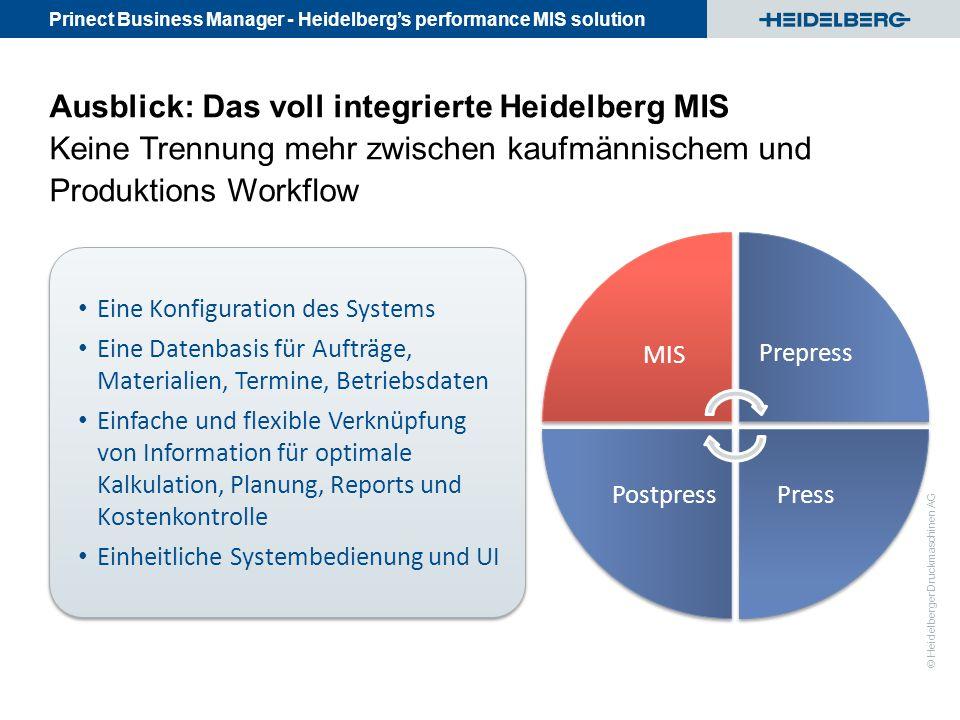 Ausblick: Das voll integrierte Heidelberg MIS Keine Trennung mehr zwischen kaufmännischem und Produktions Workflow