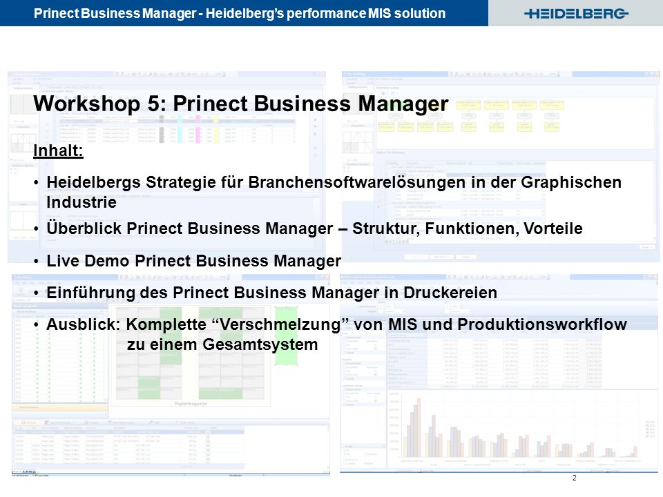 Workshop 5: Prinect Business Manager