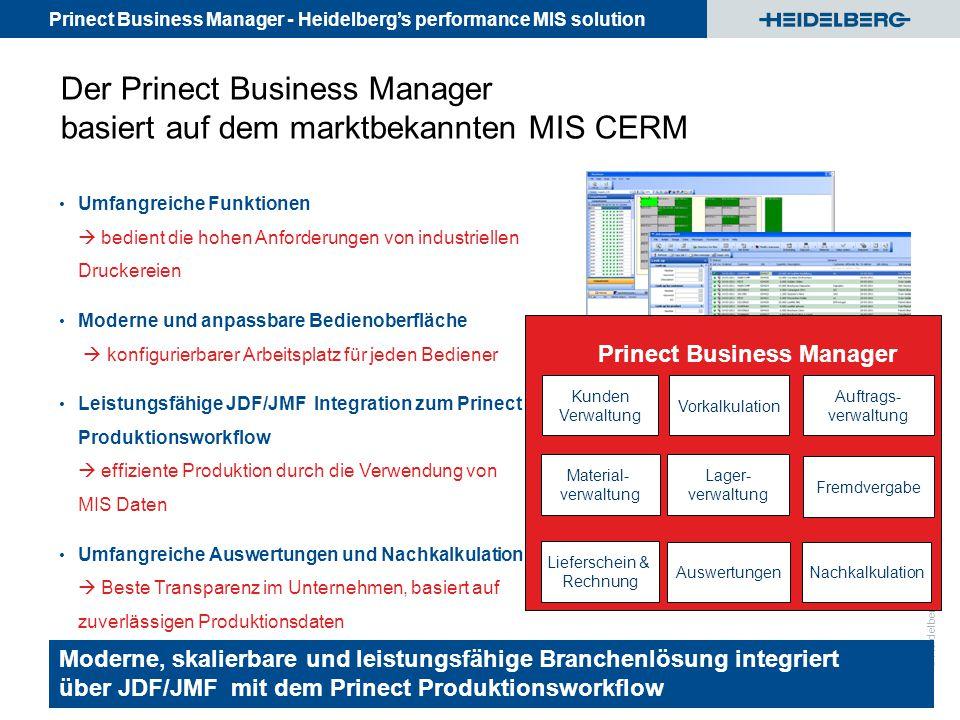 Der Prinect Business Manager basiert auf dem marktbekannten MIS CERM
