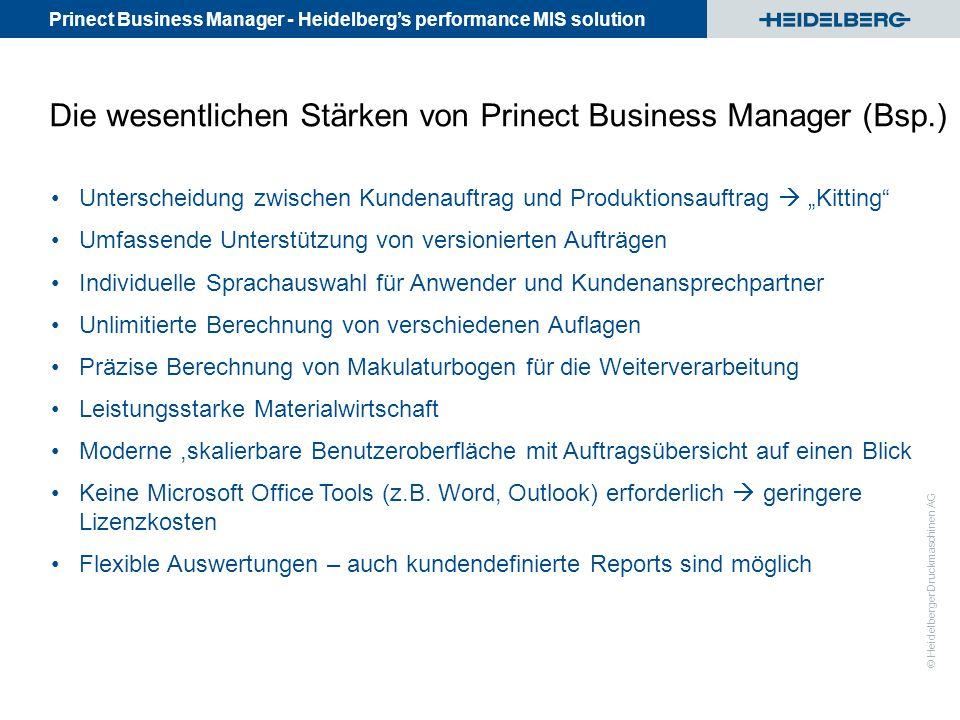 Die wesentlichen Stärken von Prinect Business Manager (Bsp.)