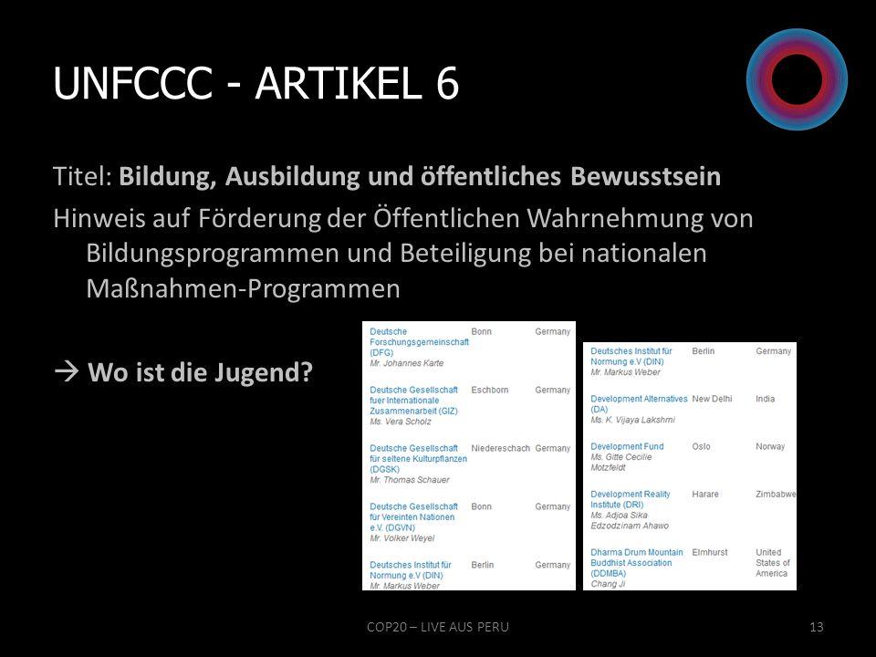 UNFCCC - Artikel 6 Titel: Bildung, Ausbildung und öffentliches Bewusstsein.