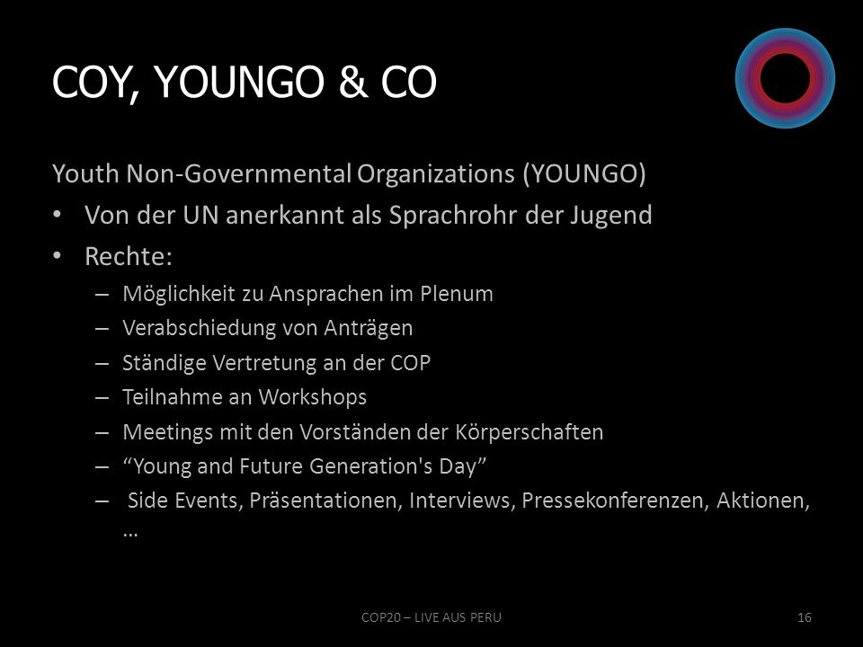 COY, YOUNGO & Co Youth Non-Governmental Organizations (YOUNGO)