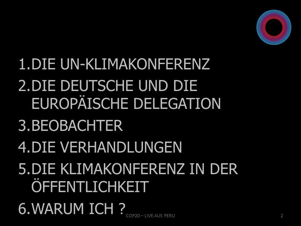 DIE UN-KLIMAKONFERENZ DIE DEUTSCHE UND DIE EUROPÄISCHE DELEGATION