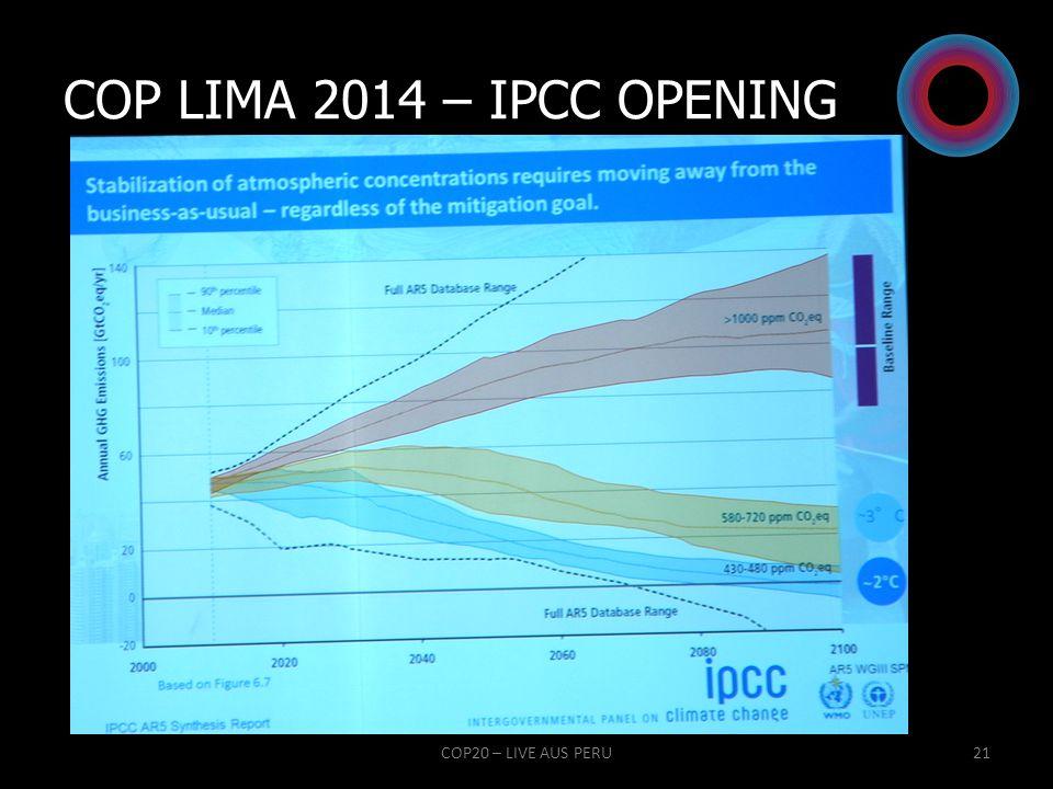 COP LIMA 2014 – IPCC OPENING COP20 – LIVE AUS PERU