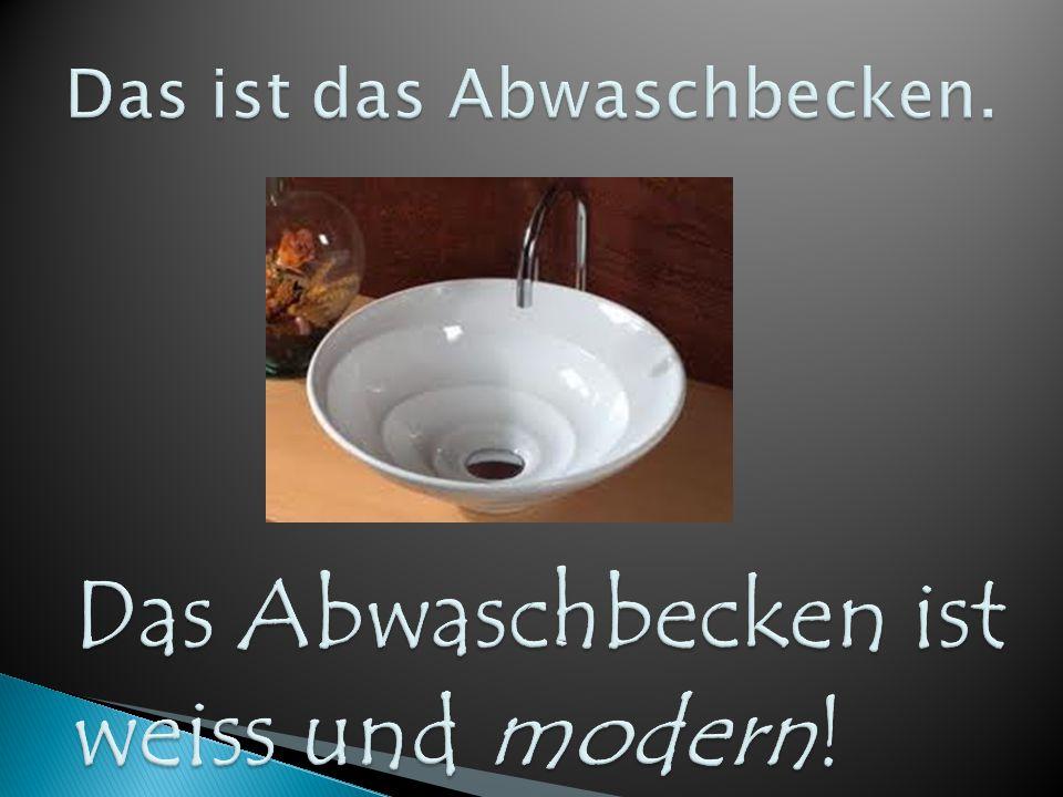 Das Abwaschbecken ist weiss und modern!