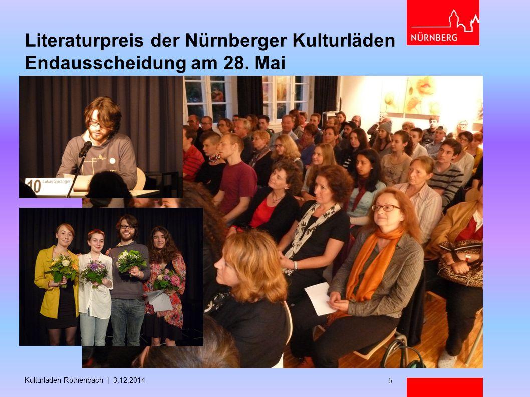 Literaturpreis der Nürnberger Kulturläden Endausscheidung am 28. Mai