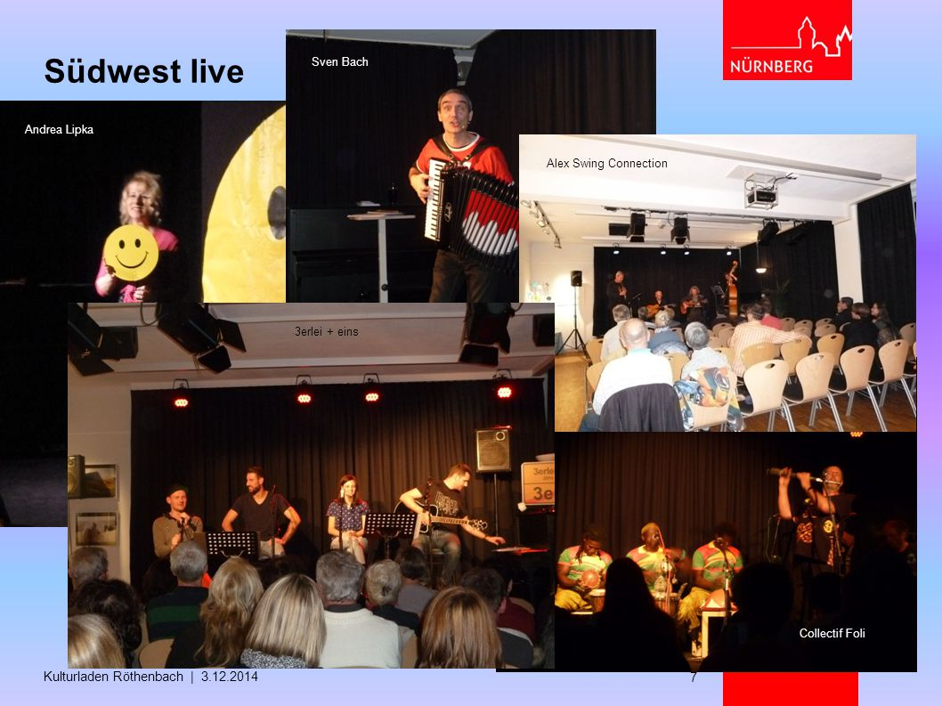 Südwest live Kulturladen Röthenbach | 3.12.2014 Sven Bach Andrea Lipka