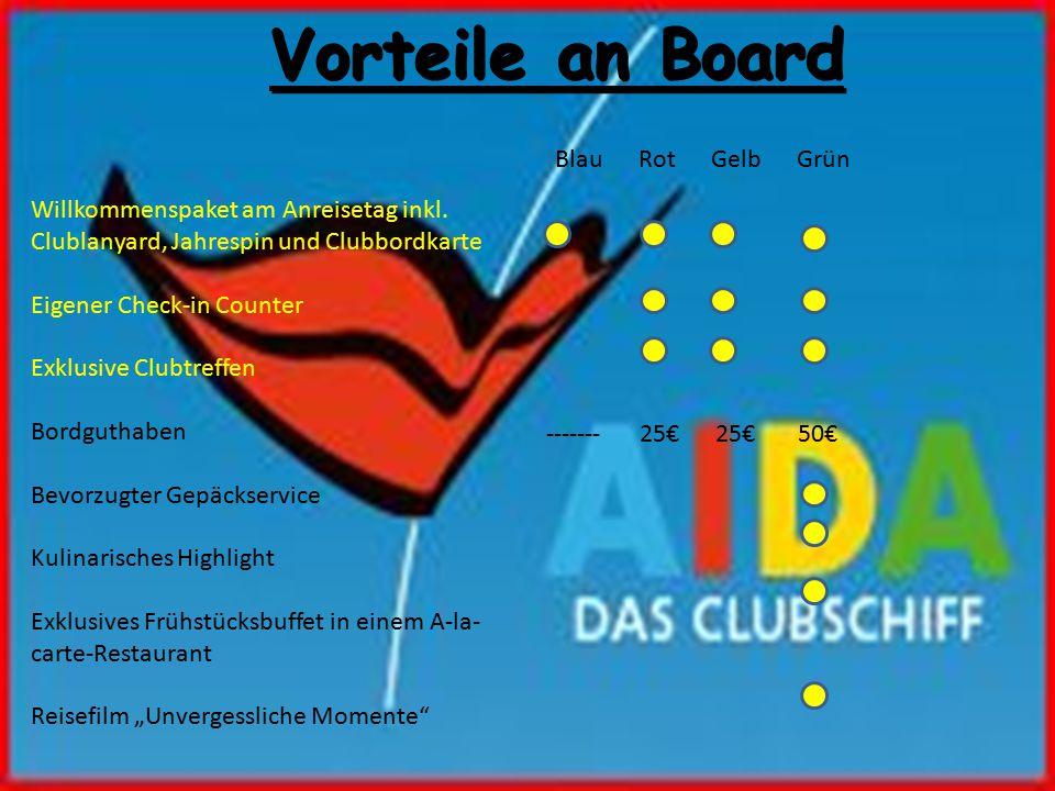Vorteile an Board Blau Rot Gelb Grün