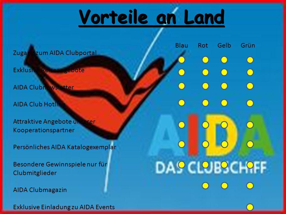 Vorteile an Land Blau Rot Gelb Grün Zugang zum AIDA Clubportal