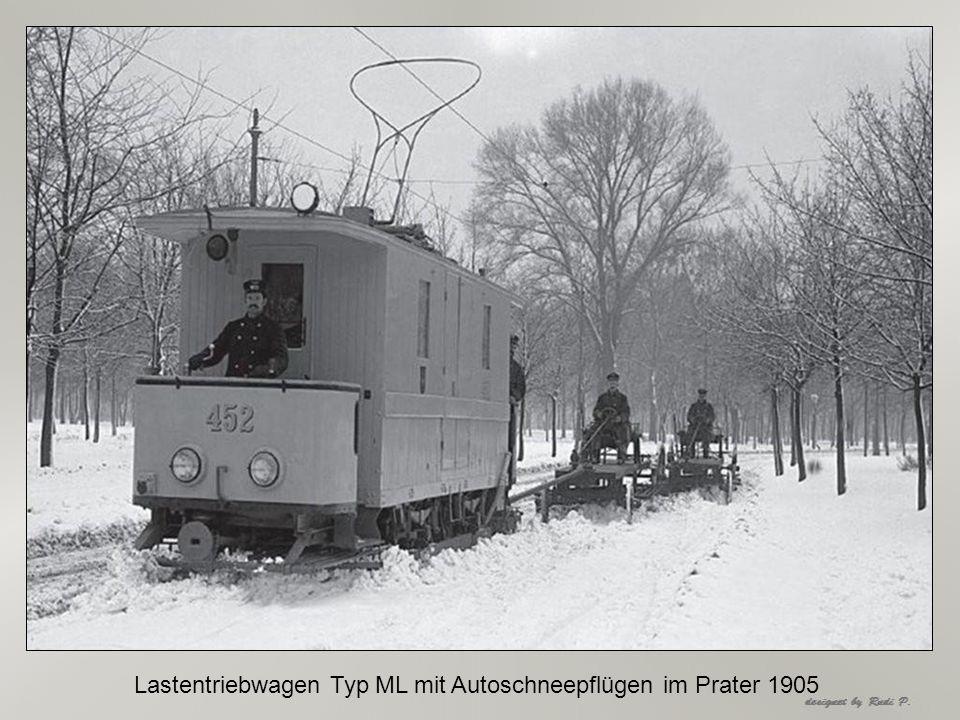 Lastentriebwagen Typ ML mit Autoschneepflügen im Prater 1905
