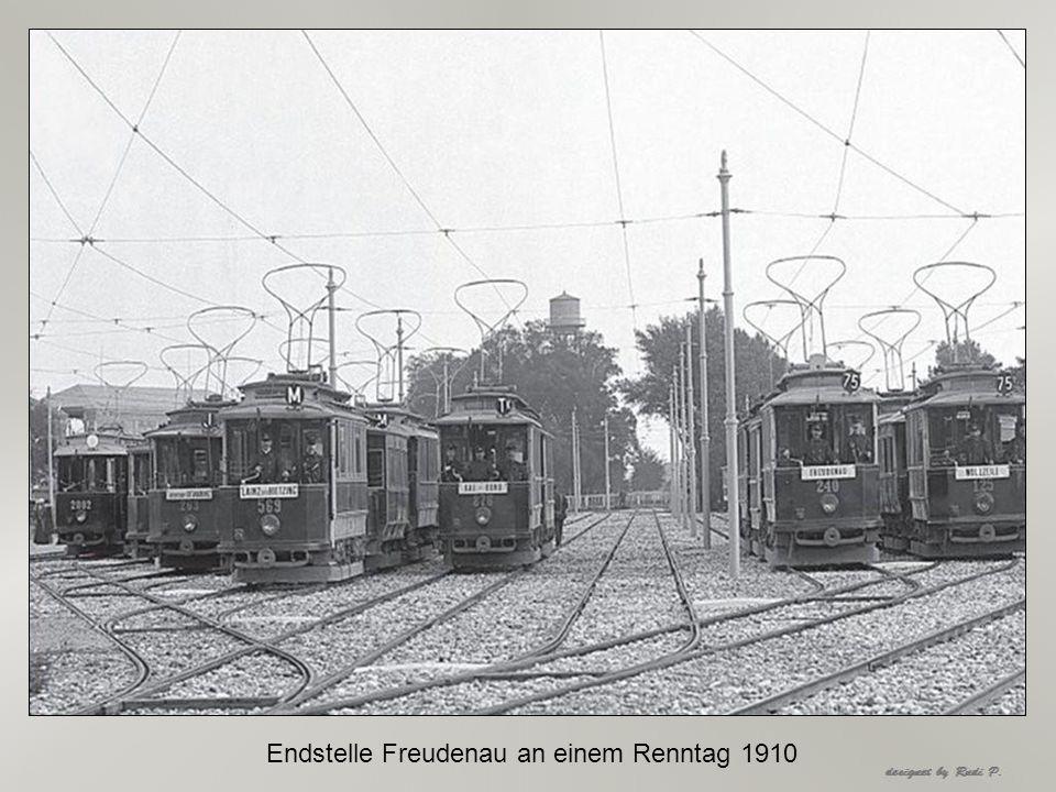 Endstelle Freudenau an einem Renntag 1910