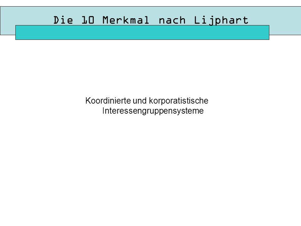 Die 10 Merkmal nach Lijphart