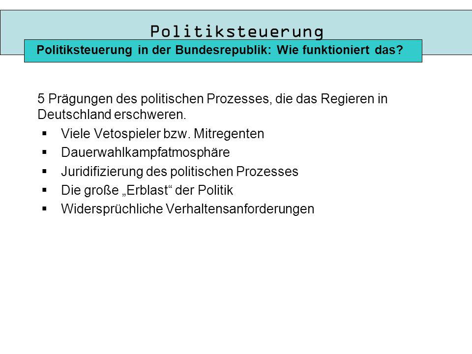 Politiksteuerung Politiksteuerung in der Bundesrepublik: Wie funktioniert das