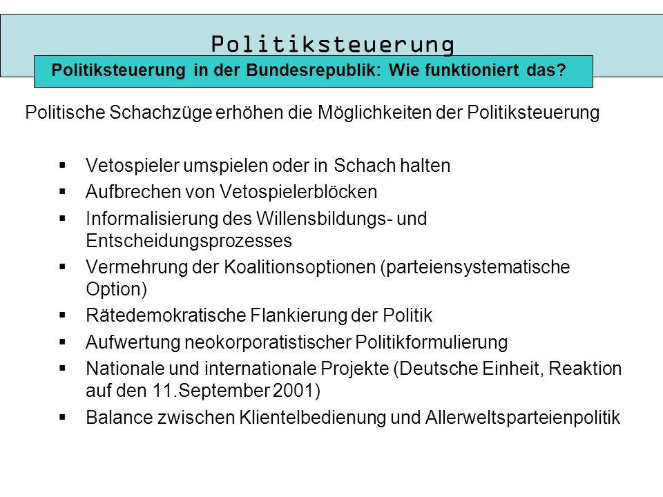 Politiksteuerung Politiksteuerung in der Bundesrepublik: Wie funktioniert das Politische Schachzüge erhöhen die Möglichkeiten der Politiksteuerung.
