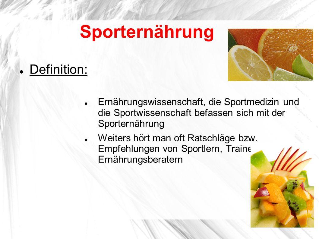 Sporternährung Definition: