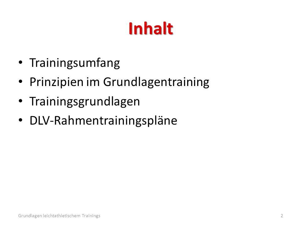 Inhalt Trainingsumfang Prinzipien im Grundlagentraining