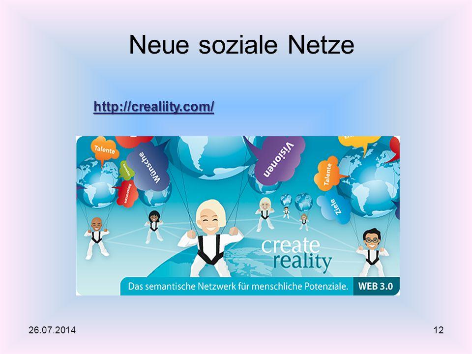 Neue soziale Netze http://crealiity.com/ 26.07.2014