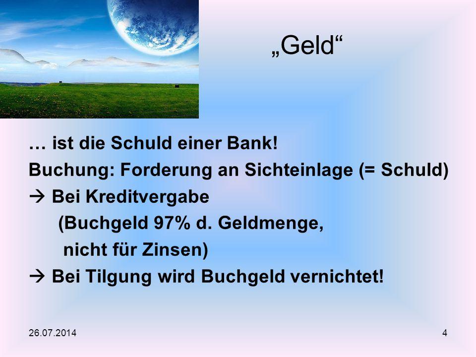 """""""Geld … ist die Schuld einer Bank!"""