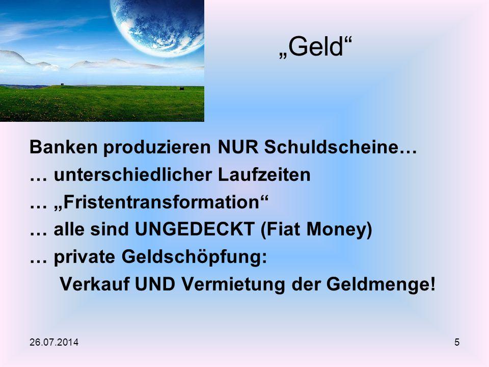 """""""Geld Banken produzieren NUR Schuldscheine…"""