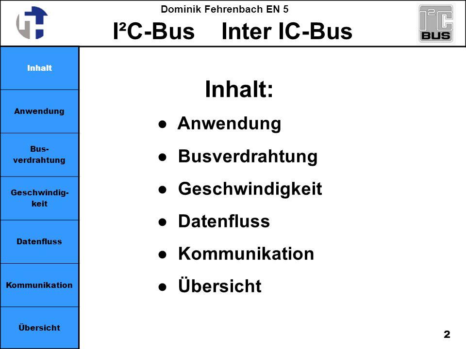 Inhalt: ● Anwendung ● Busverdrahtung ● Geschwindigkeit ● Datenfluss