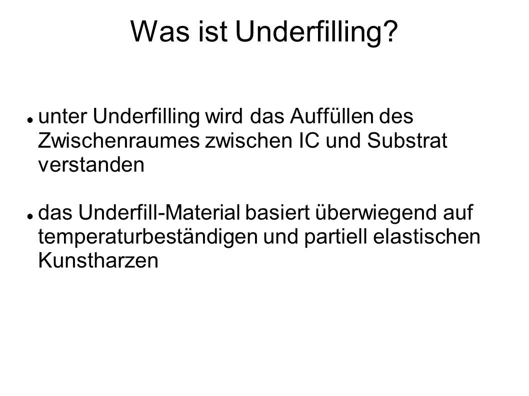 Was ist Underfilling unter Underfilling wird das Auffüllen des Zwischenraumes zwischen IC und Substrat verstanden.