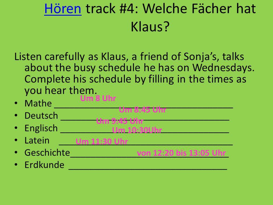 Hören track #4: Welche Fächer hat Klaus