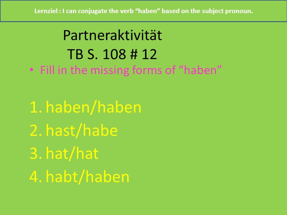 Partneraktivität TB S. 108 # 12