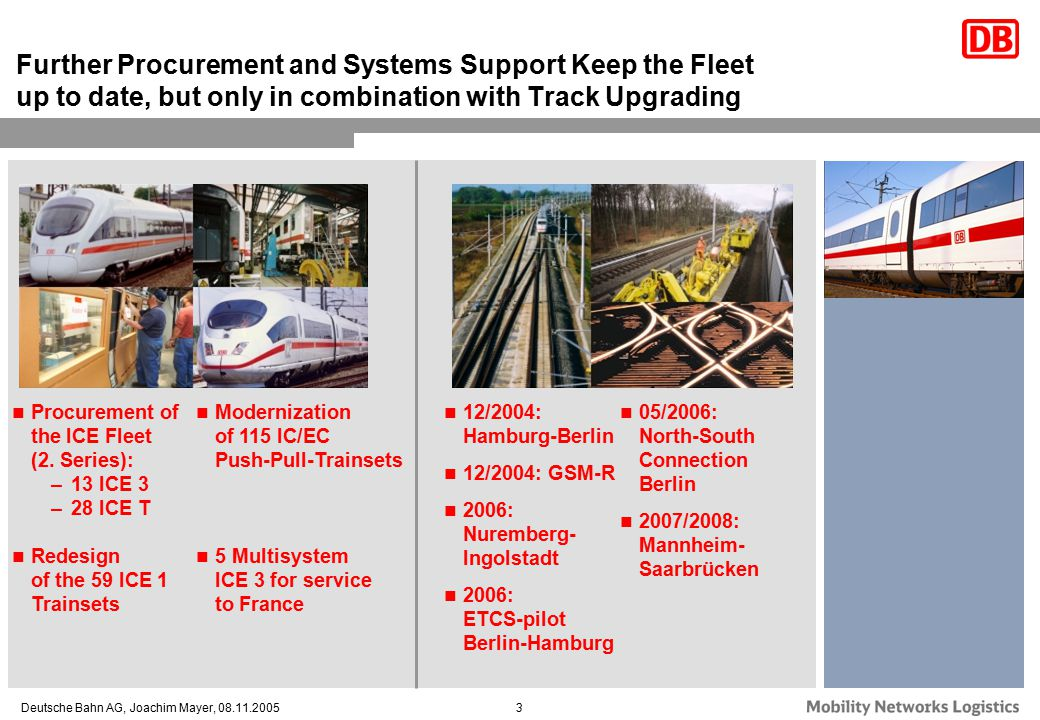 Further Procurement and Systems Support Keep the Fleet up to date, but only in combination with Track Upgrading