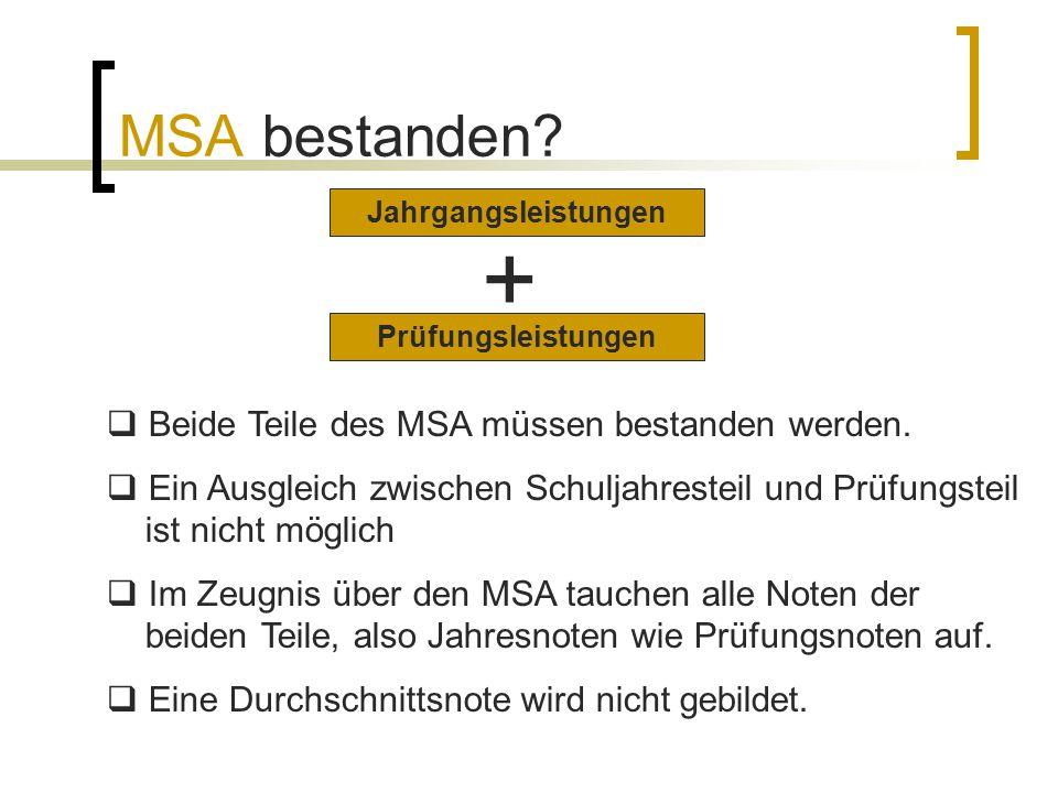 + MSA bestanden Beide Teile des MSA müssen bestanden werden.