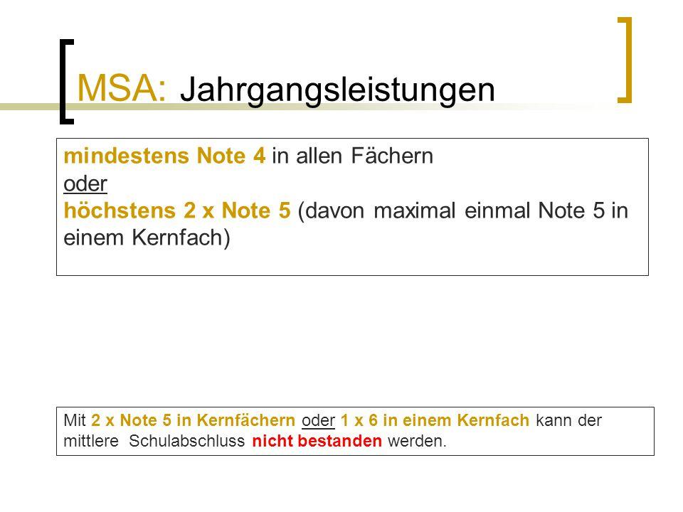 MSA: Jahrgangsleistungen