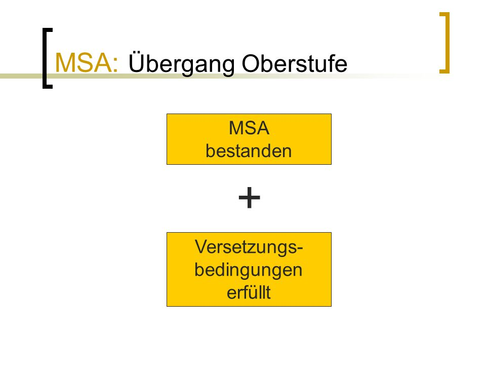 MSA: Übergang Oberstufe