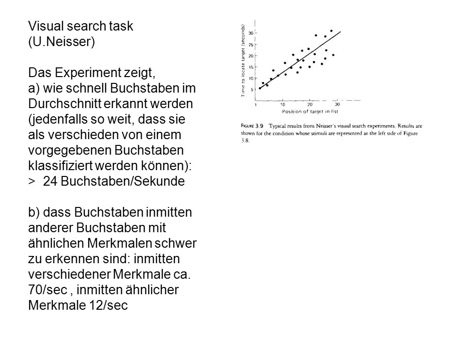 Visual search task (U.Neisser)