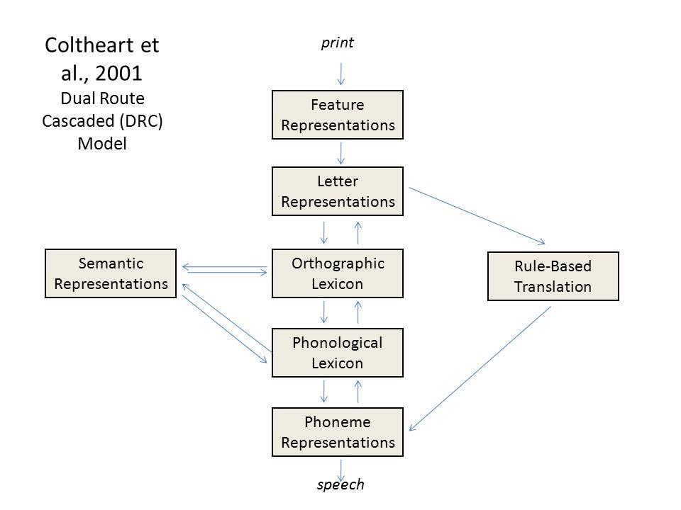 Coltheart et al., 2001 Dual Route Cascaded (DRC) Model