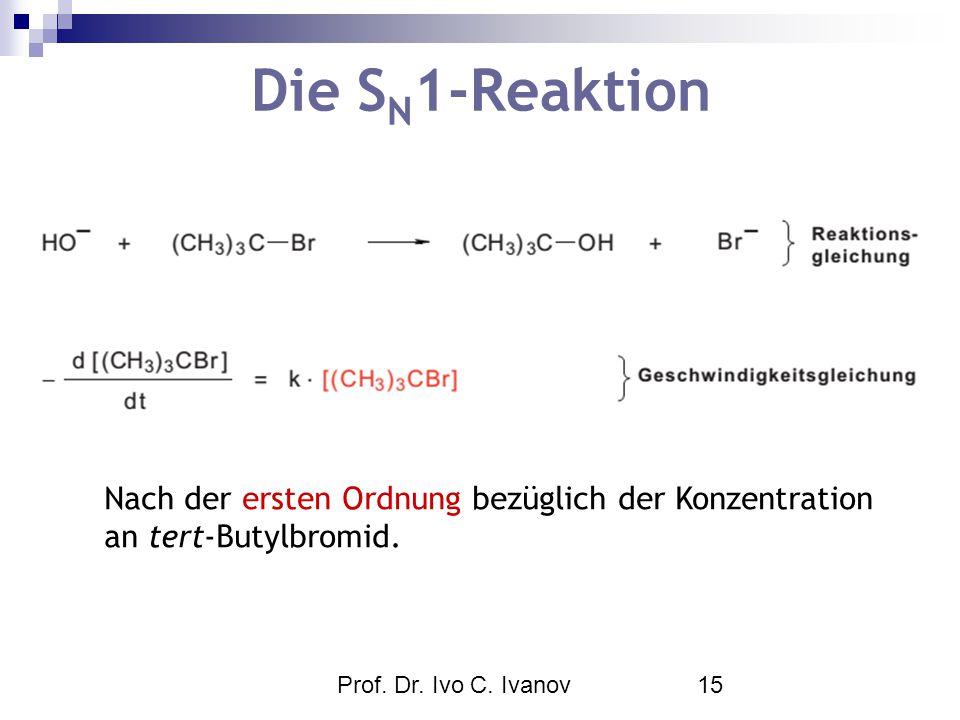 Die SN1-Reaktion Nach der ersten Ordnung bezüglich der Konzentration an tert-Butylbromid.