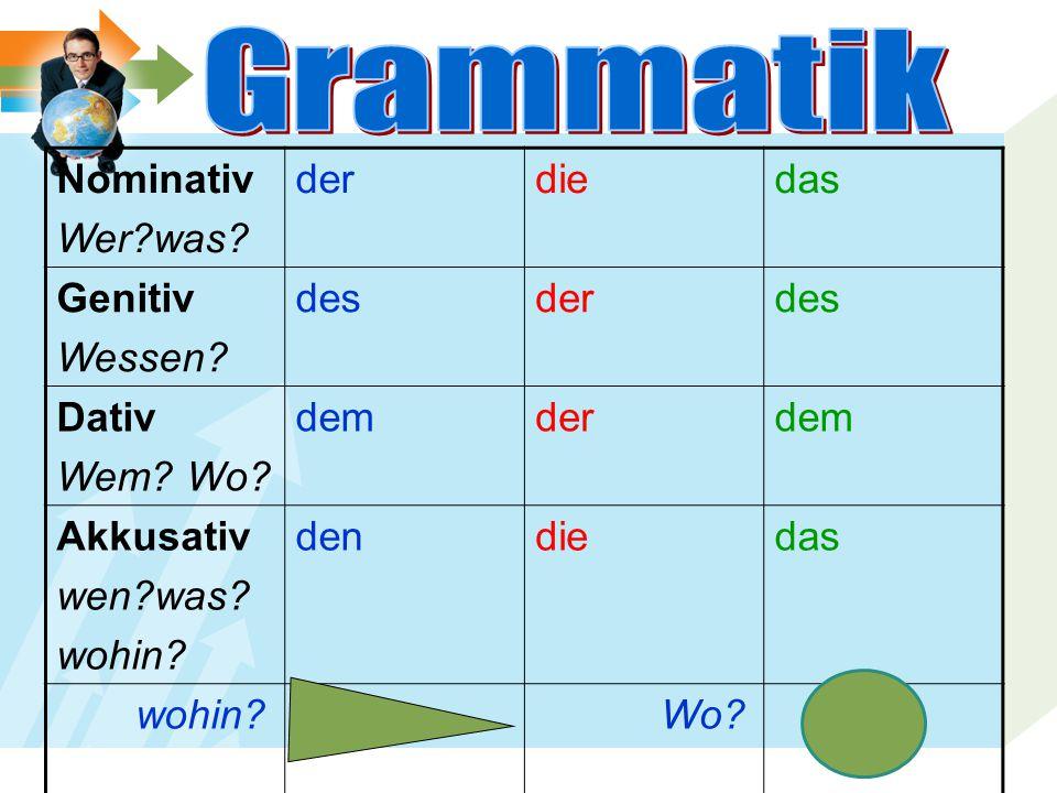 Grammatik Nominativ Wer was der die das Genitiv Wessen des Dativ