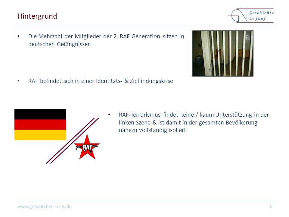 Hintergrund Die Mehrzahl der Mitglieder der 2. RAF-Generation sitzen in deutschen Gefängnissen.