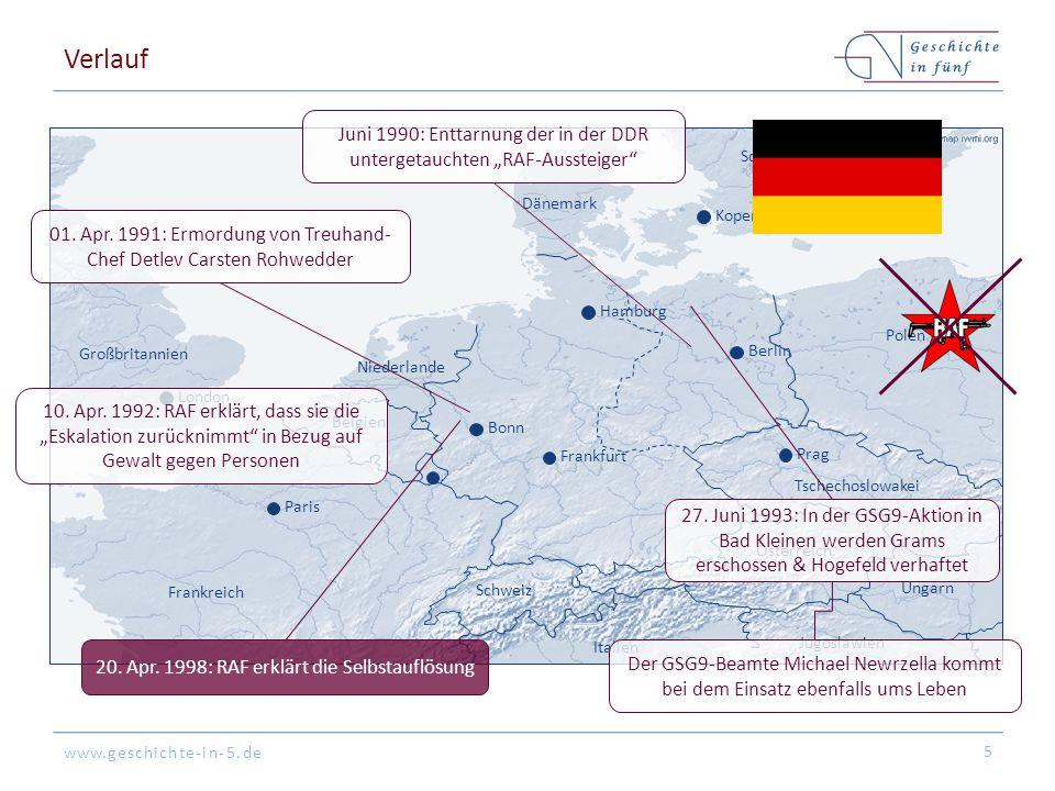 """Verlauf Juni 1990: Enttarnung der in der DDR untergetauchten """"RAF-Aussteiger Schweden. Dänemark."""