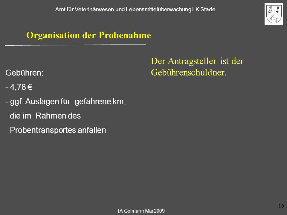 Organisation der Probenahme