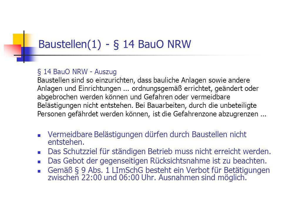 Baustellen(1) - § 14 BauO NRW