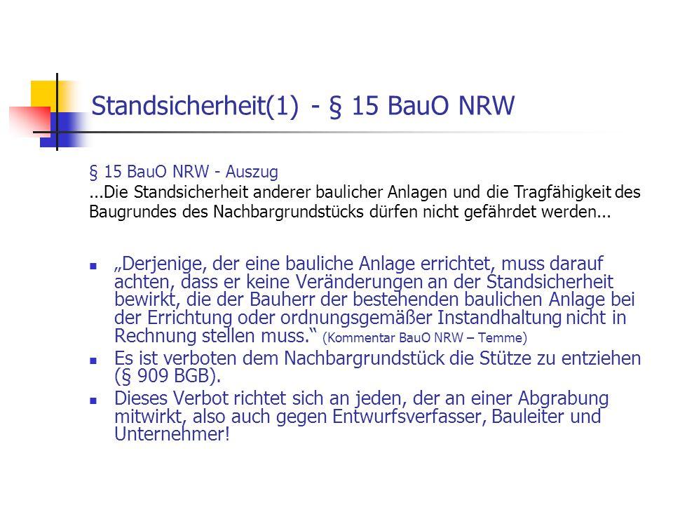 Standsicherheit(1) - § 15 BauO NRW