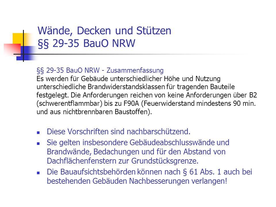 Wände, Decken und Stützen §§ 29-35 BauO NRW