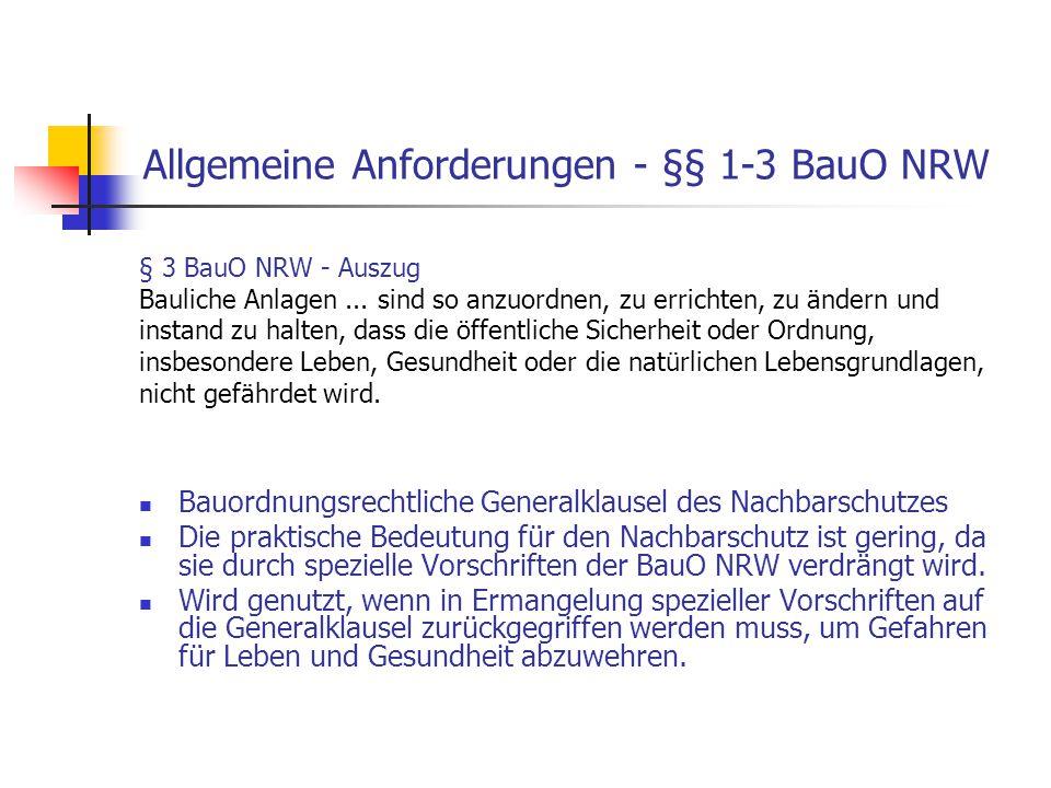 Allgemeine Anforderungen - §§ 1-3 BauO NRW