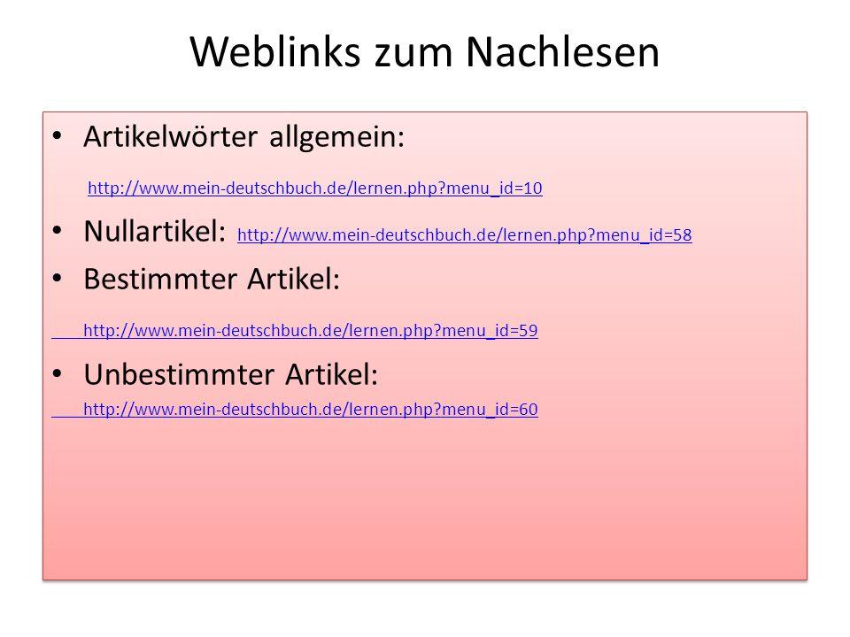 Weblinks zum Nachlesen